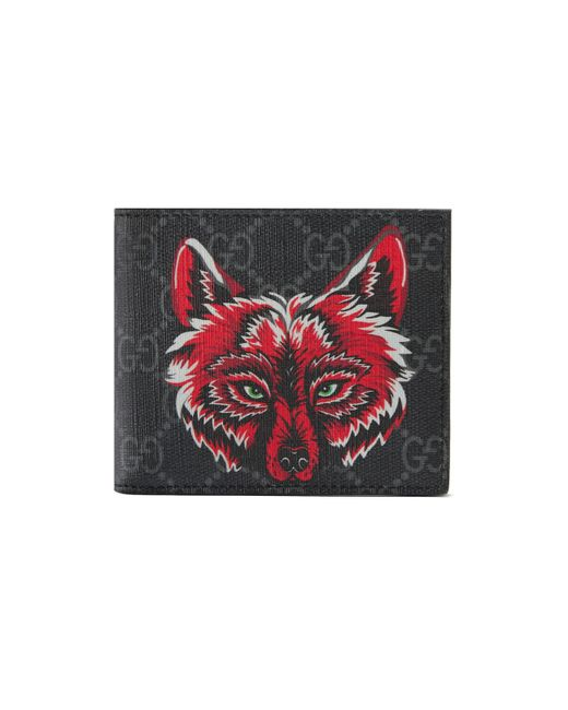bc428ee7b5dd Gucci GG Supreme Wallet With Wolf in Red for Men - Save 28% - Lyst