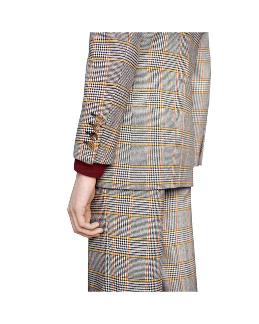 65b7b348c ... Gucci - Orange Check Cotton Jacket for Men - Lyst ...