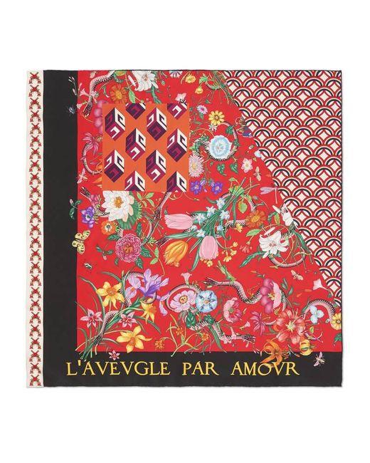 Gucci - Red Patchwork Print Silk Scarf - Lyst