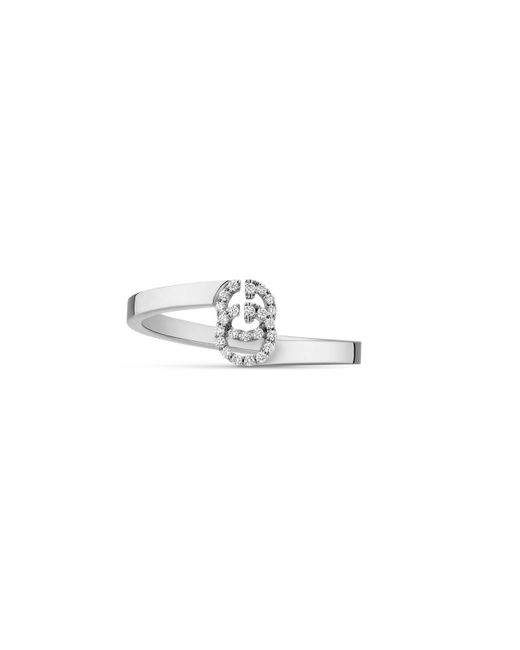 Gucci - GG Running Ring In White Gold With Diamonds - Lyst