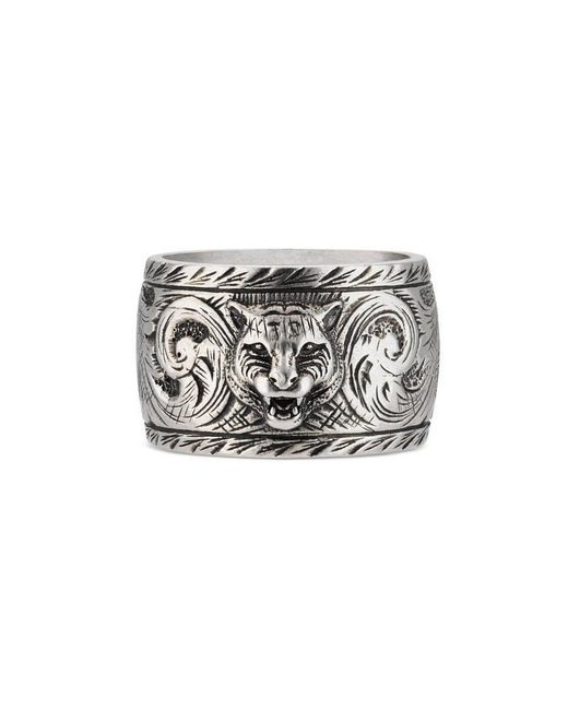 Gucci | Metallic Wide Silver Ring With Feline Head | Lyst