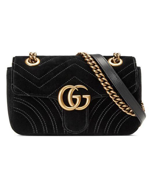 Gucci | Black GG Marmont Velvet Mini Shoulder Bag | Lyst