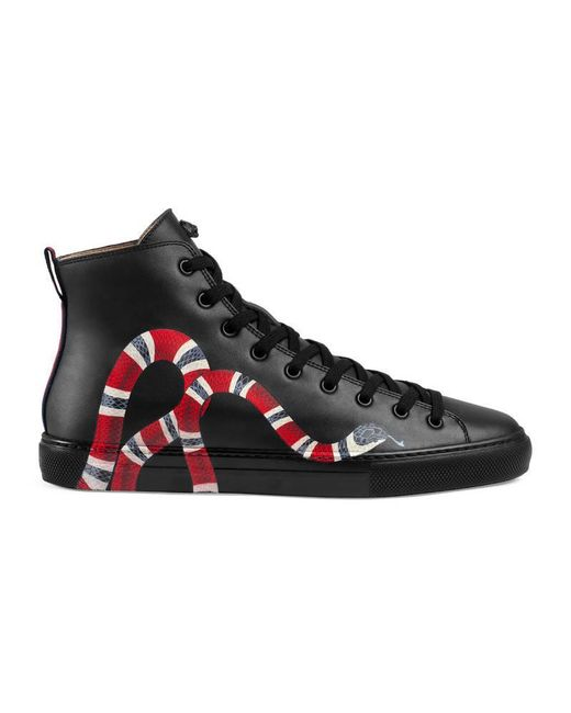 Lyst Gucci Leather High Top With Snake In Black For Men