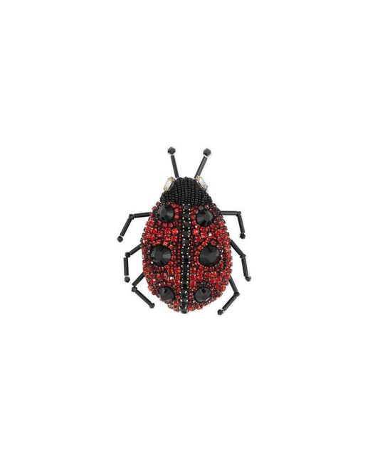 Gucci - Red Ladybug Brooch With Crystals - Lyst