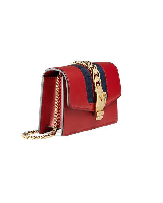 ec3cf1519fd Lyst - Gucci Sylvie Leather Super Mini Bag in Red - Save 4%