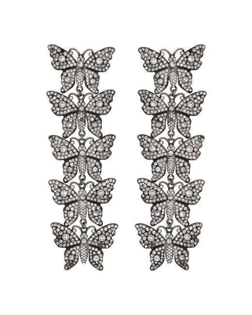 Gucci - Metallic Crystal Studded Butterfly Earrings - Lyst