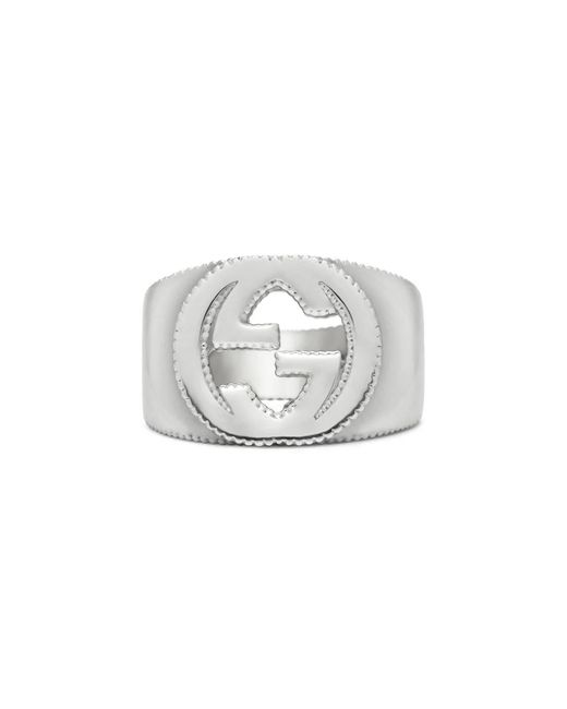 Gucci - Metallic Interlocking G Ring In Silver for Men - Lyst
