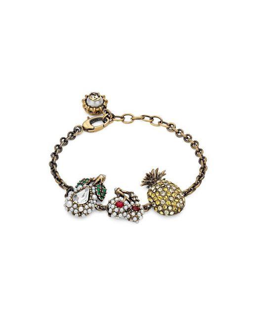 Gucci - Metallic Crystal Fruit Bracelet In Metal - Lyst