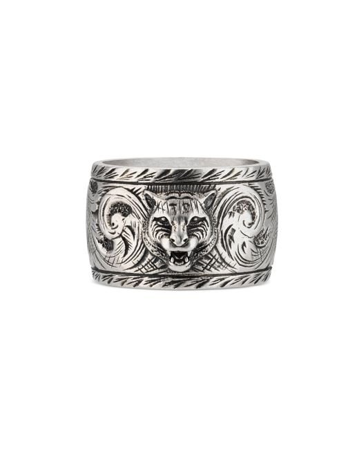 Gucci - Metallic - Wide Silver Ring With Feline Head for Men - Lyst