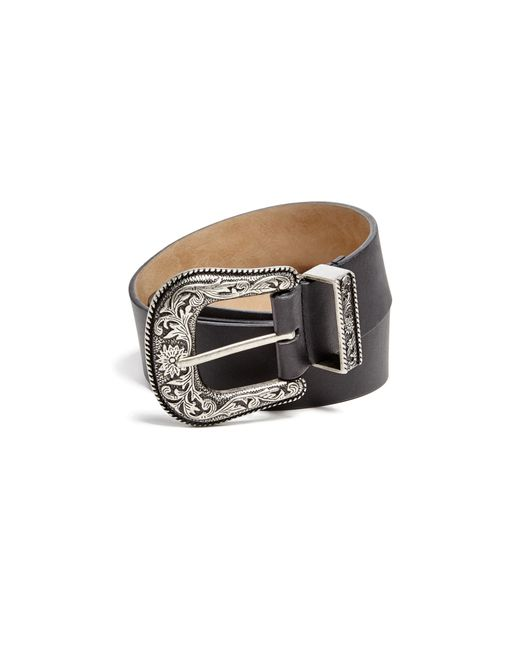 guess wide western belt in black for lyst