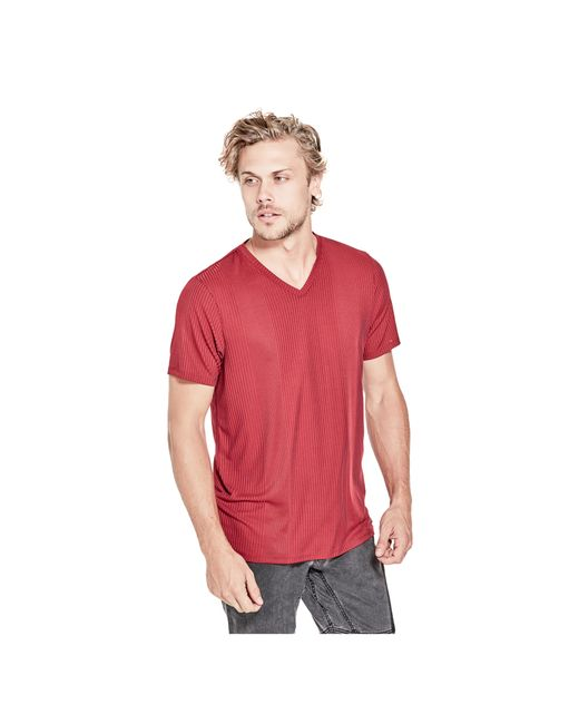 Guess | Red Limit Striped V-neck Tee for Men | Lyst