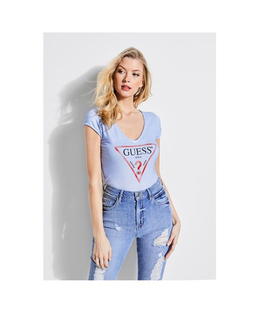 Guess - Blue Logo V-neck Tee - Lyst