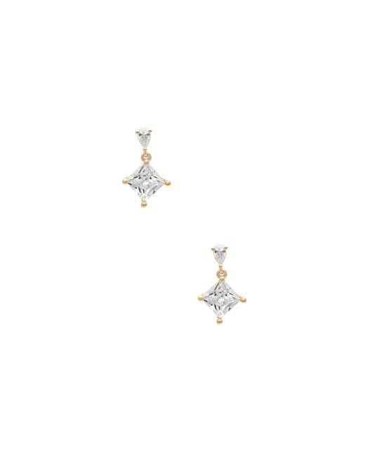 Guess - Metallic Square Drop Cubic Zirconia Earrings - Lyst