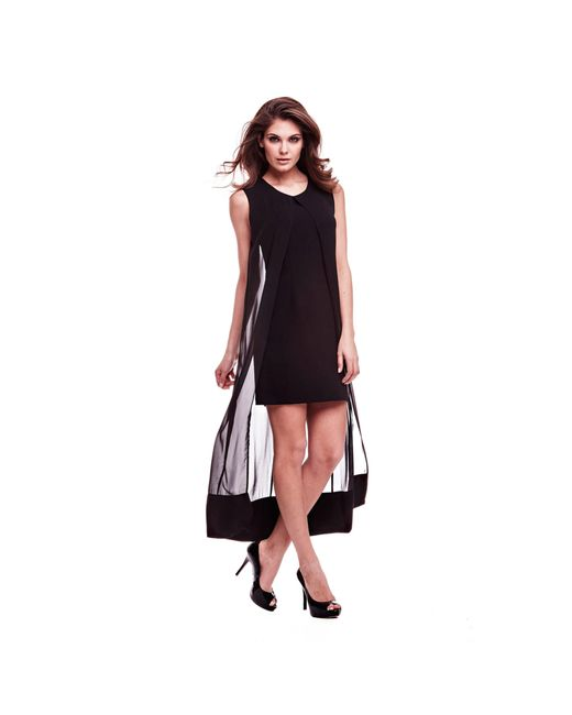 Guess | Black Marciano Double Fabric Dress | Lyst