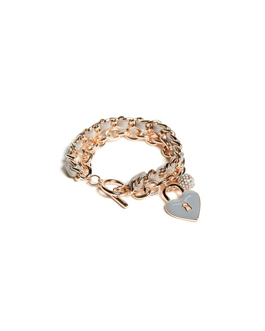 Guess | Metallic Rose Gold-tone Charm Toggle Bracelet | Lyst