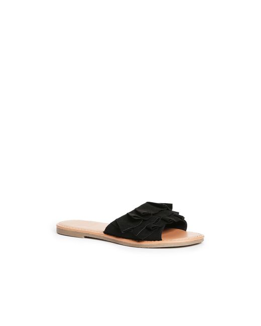 Guess - Black Ruffled Slide Sandals - Lyst
