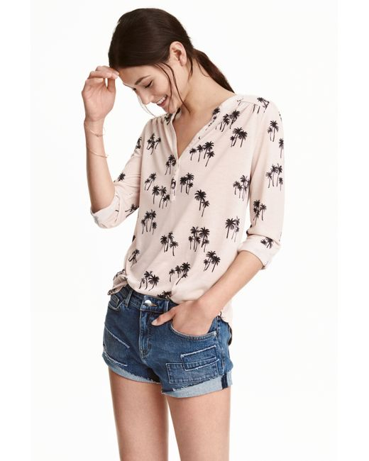 H&M | Pink Jersey Top | Lyst