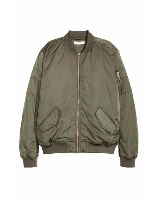 H Amp M Bomber Jacket In Green Lyst