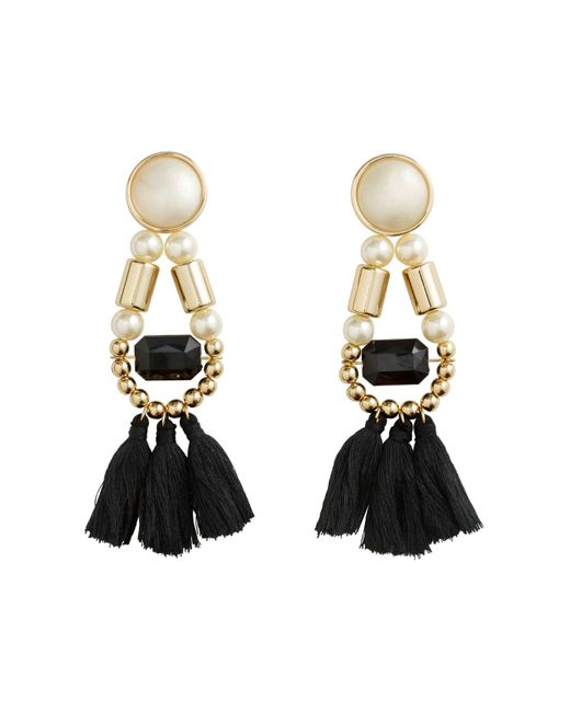 H&M | Black Earrings With Tassels | Lyst