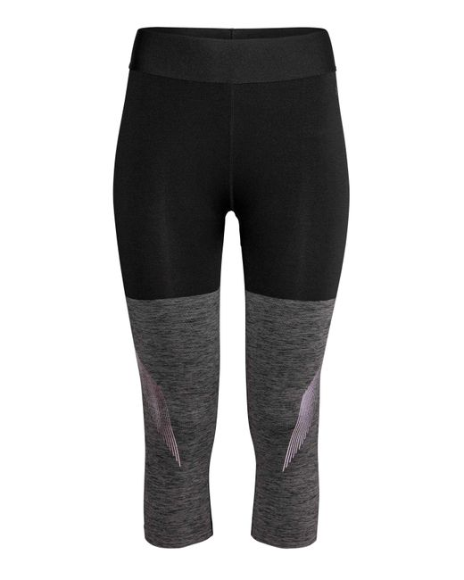 h m 3 4 length sports tights in grey lyst. Black Bedroom Furniture Sets. Home Design Ideas