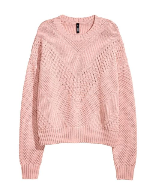 H&M | Pink Textured-knit Jumper | Lyst