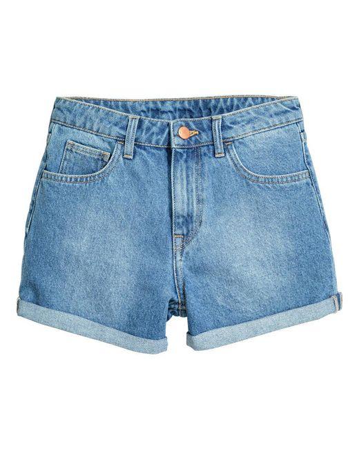 H&M | Blue Denim Shorts | Lyst