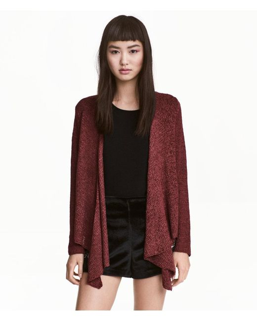 H&M   Red Draped Cardigan   Lyst