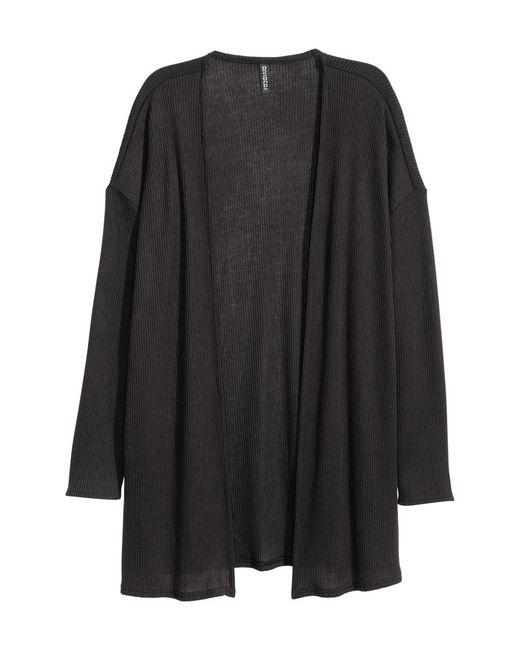H&M | Black Rib-knit Cardigan | Lyst