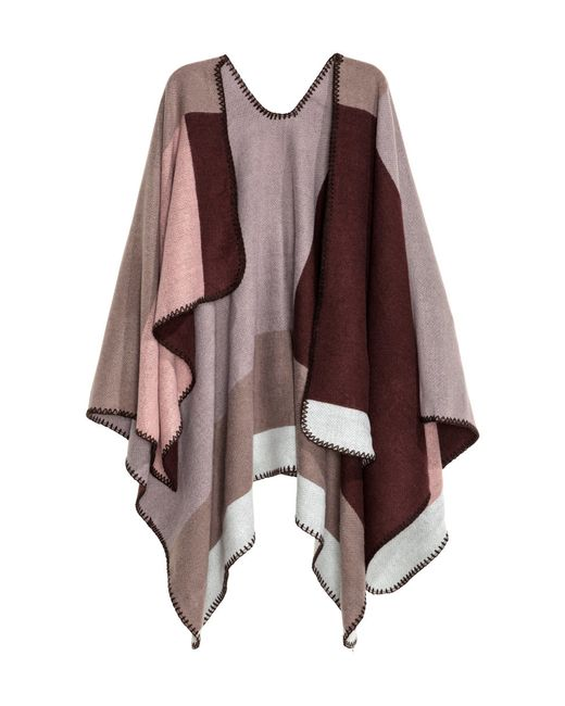 H&M | Multicolor Block-patterned Poncho | Lyst