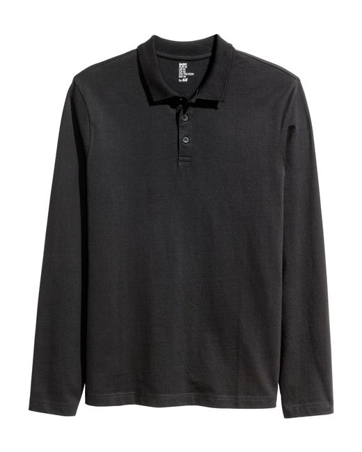 H m long sleeved polo shirt in black for men lyst for H m polo shirt mens