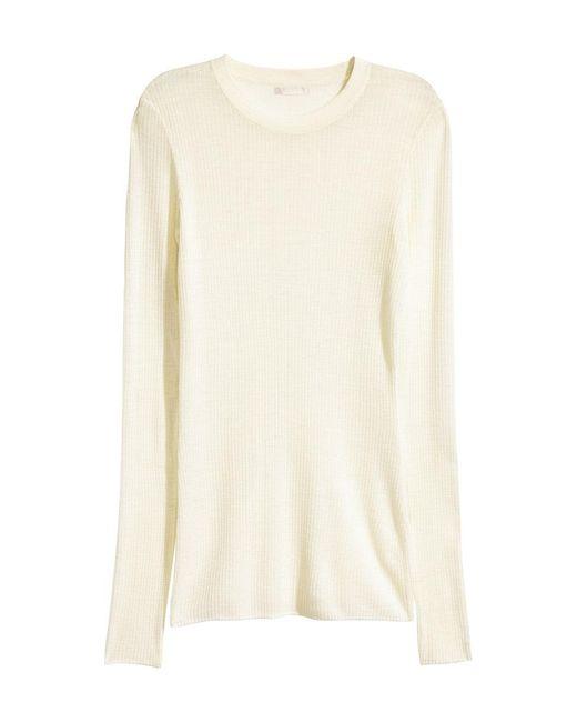 H&M | White Merino Wool Jumper | Lyst