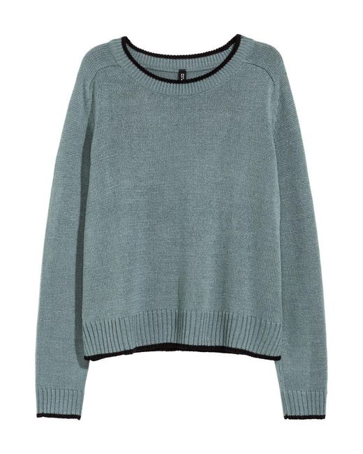 H&M | Blue Knitted Jumper | Lyst