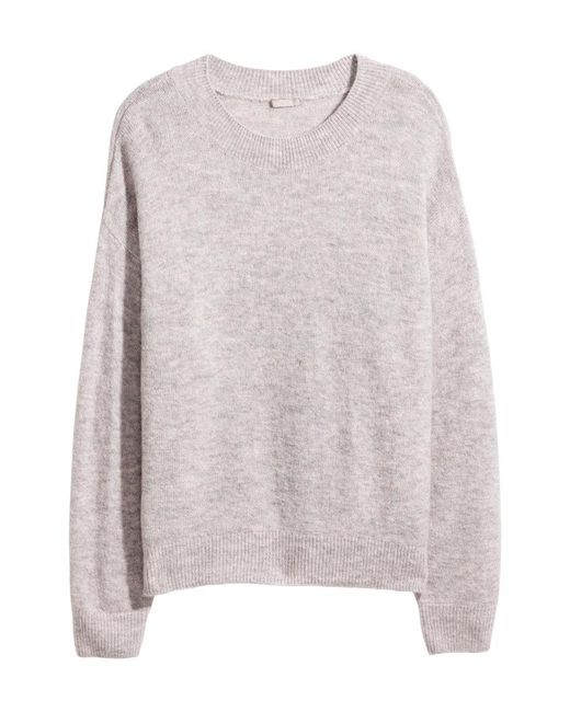H&M   Gray + Knitted Jumper   Lyst