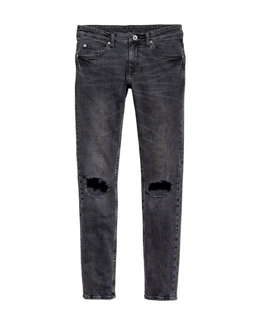 H&M | Gray Super Skinny Trashed Jeans for Men | Lyst