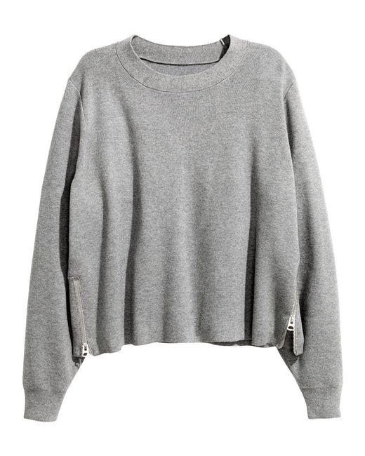 H&M | Gray Fine-knit Jumper | Lyst