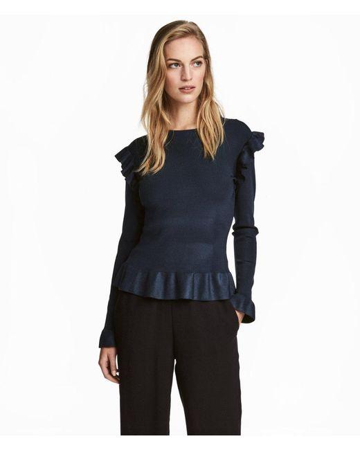 H&M | Blue Jumper With Flounces | Lyst