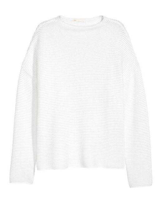 H&M | White Textured-knit Jumper | Lyst
