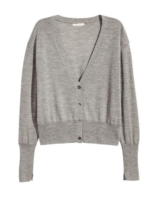 H&M | Gray Cashmere-blend Cardigan | Lyst