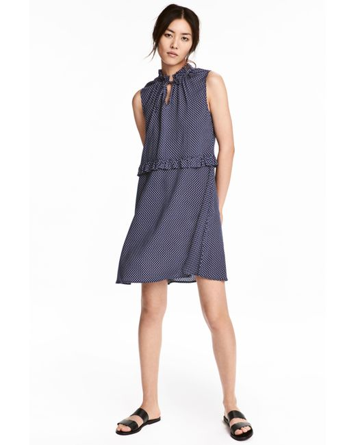 H&M | Blue Patterned Dress With Frills | Lyst