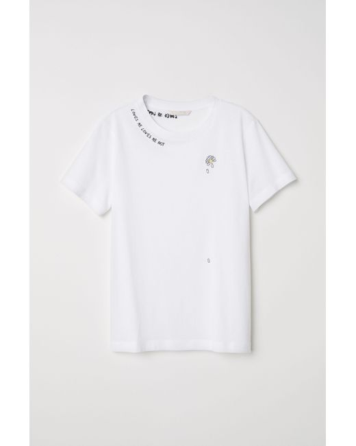 Lyst Hm T Shirt With Embroidery In White