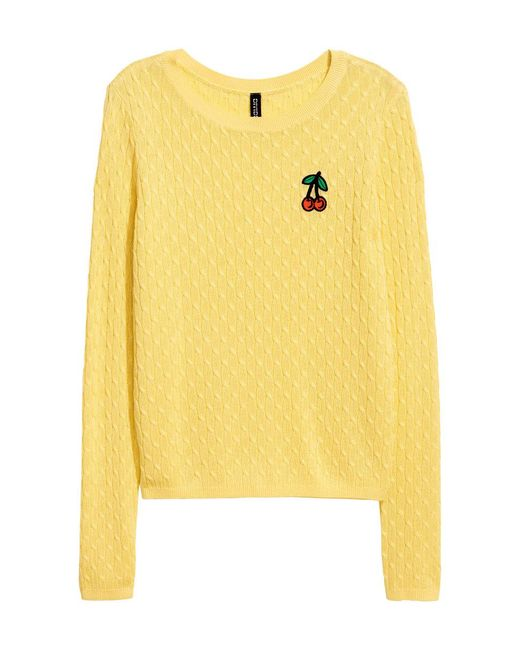 H&M | Yellow Cable-knit Jumper | Lyst