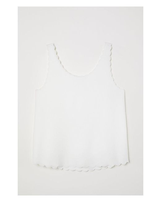 cb38dd5f599328 Lyst - H M Scallop-edged Vest Top in White