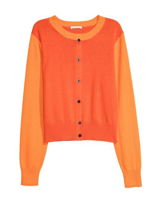 H&M - Orange Cardigan - Lyst