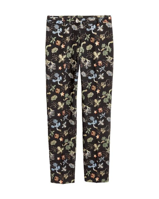 H&M - Black Jacquard-patterned Trousers - Lyst