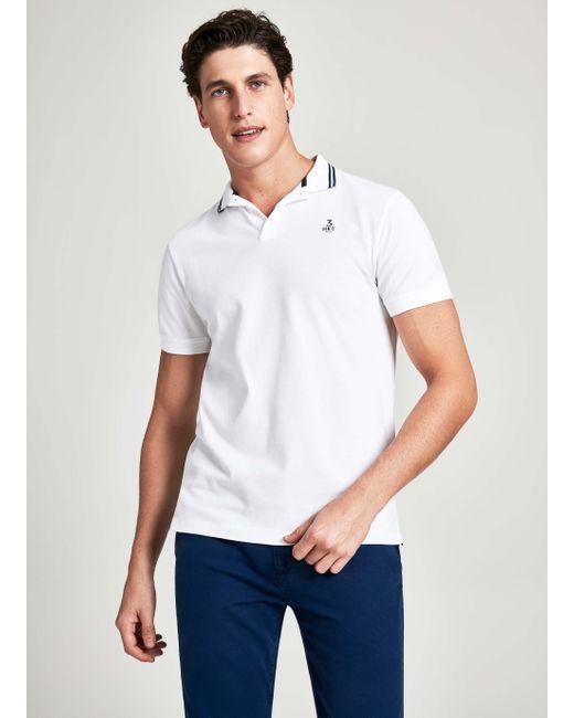 9a5c7203bf6e Hackett - White Collar Stripe Detail Cotton Short-sleeved Polo Shirt for  Men - Lyst ...