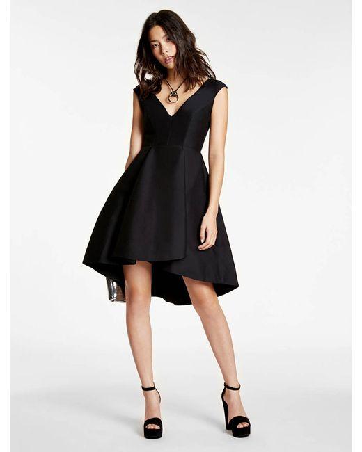 Halston Heritage | Black Silk Falle Structured Dress | Lyst