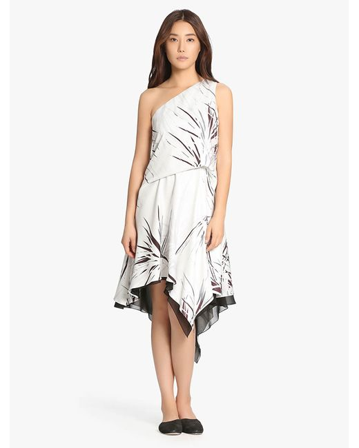 Halston Heritage   White One Shoulder Printed Dress   Lyst