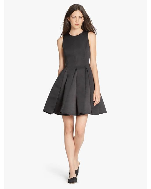 Halston Heritage | Black Satin Faille Structured Dress | Lyst