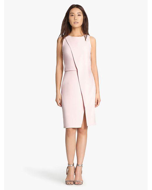 Halston Heritage | Pink Asymmetric Overlay Dress | Lyst