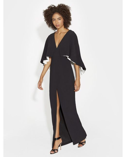 f9030ae25ab6 Halston Heritage - Black Colorblocked Flowy Crepe Gown - Lyst